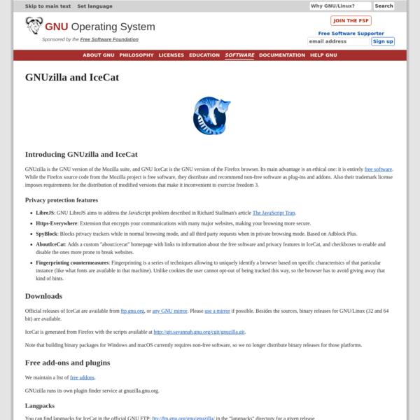 GNUzilla and IceCat - GNU Project - Free Software Foundation
