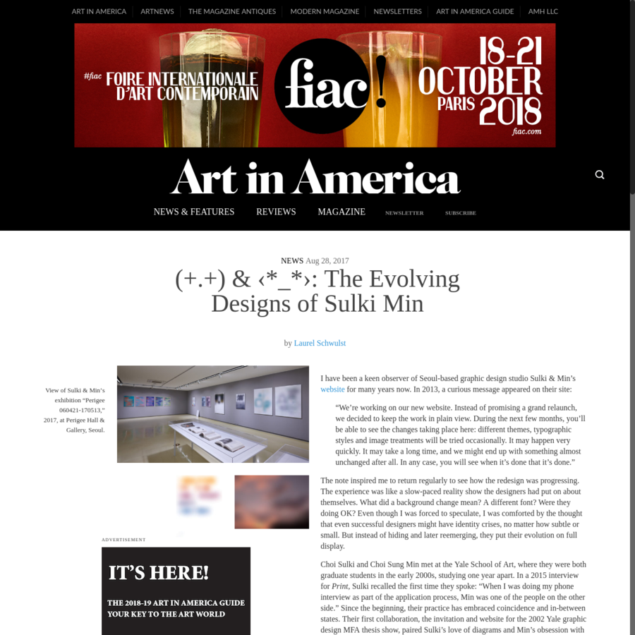 """Advertisement I have been a keen observer of Seoul-based graphic design studio Sulki & Min's website for many years now. In 2013, a curious message appeared on their site: """"We're working on our new website. Instead of promising a grand relaunch, we decided to keep the work in plain view."""