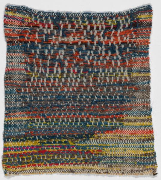 "Sheila Hicks Multi-Colored Minime c. 1962 Hand-woven wool Dimensions 10 1/2 x 11 1/2"" (26.7 x 29.2 cm)"