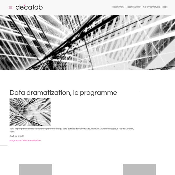 Voici le programme de la conférence-performative qui sera donnée demain au Lab, Institut Culturel de Google, 8 rue de Londres, Paris. It will be great ! programme Data dramatization