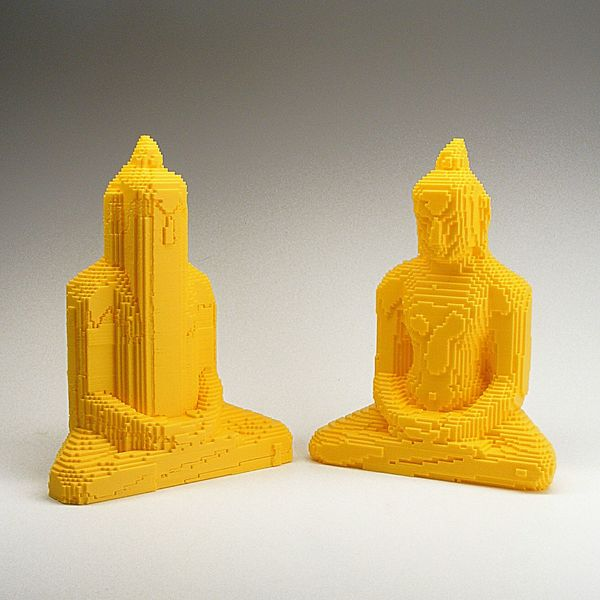 pixel Buddha, before and after 3d printed support material was removed