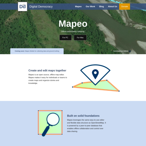 Mapeo leverages the same easy-to-use editor and flexible data structure as OpenStreetMap. It is powered by a peer-to-peer database that enables offline collaboration and control over data sharing.