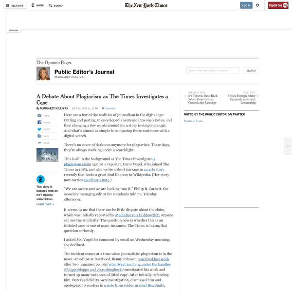 A Debate About Plagiarism as The Times Investigates a Case