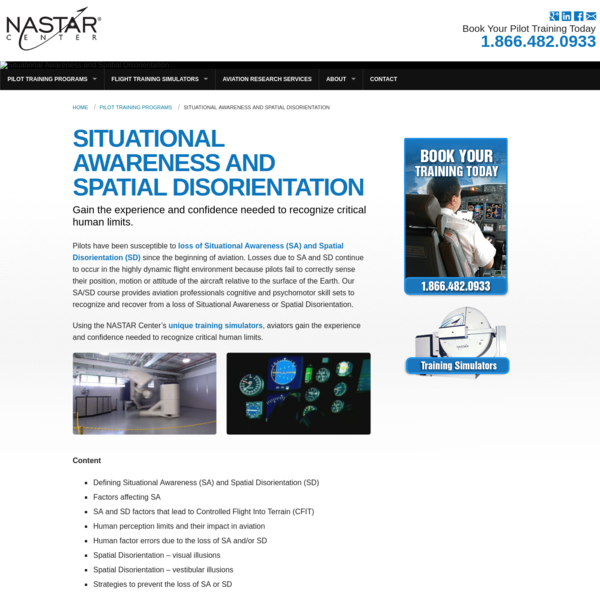 Situational Awareness and Spatial Disorientation training