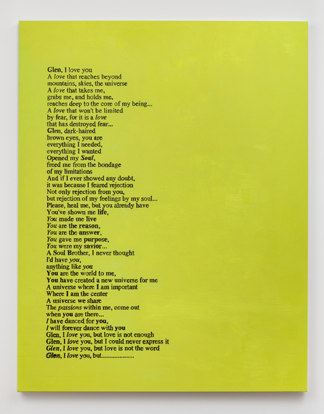Glen Fogel, From Lucas (spring 1995, yellow), 2018