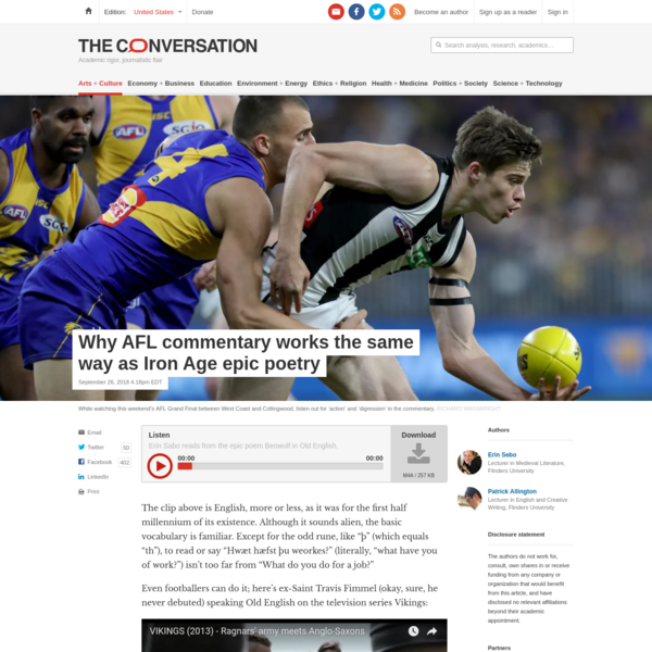 Why AFL commentary works the same way as Iron Age epic poetry