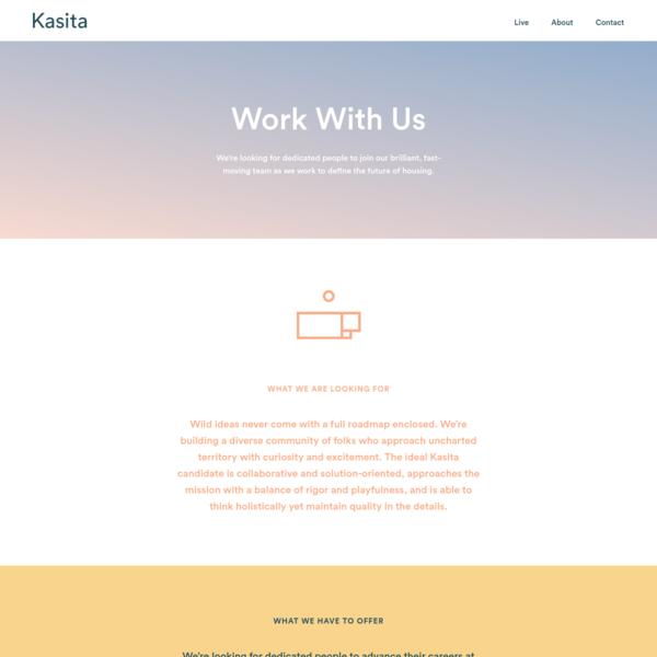 Work With Us - Kasita