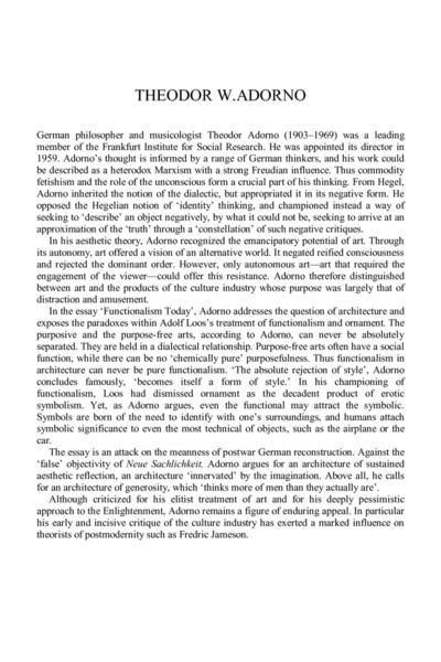 Functionalism Today | Teador Adorno
