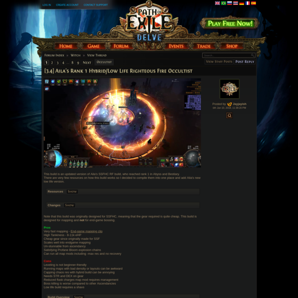 Forum - Witch - [3.4] Aila's Rank 1 Hybrid/Low Life Righteous Fire Occultist - Path of Exile
