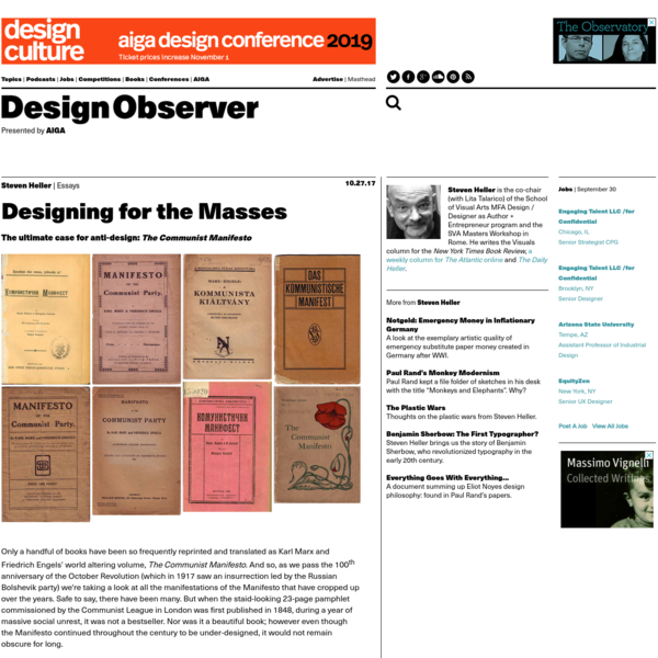 The ultimate case for anti-design: The Communist Manifesto Only a handful of books have been so frequently reprinted and translated as Karl Marx and Friedrich Engels' world altering volume, The Communist Manifesto.