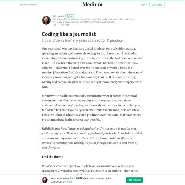 Coding like a journalist – Kait Hoehne – Medium
