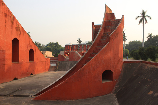 """Maharajah Sawaii Jai Singh II of Jaipur set up five astronomical observatories in North India in the early 18th century. Known as Jantar Mantar (Sanskrit, translating loosely to """"Magical Device""""), these open-air campuses were comprised of astronomical instruments built on a grand architectural scale. Individual structures measured solar time, the celestial paths of the sun and moon and the latitudes and longitudes of planets and constellations, among other functions."""