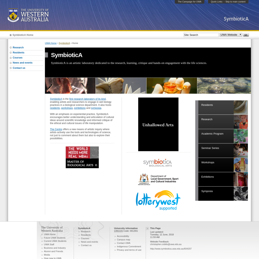 Home page for SymbioticA at UWA