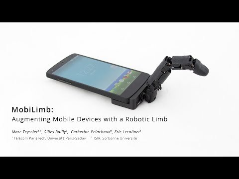 MobiLimb is a new shape-changing component with a compact form factor that can be deployed on mobile devices. It is a small 5 DoF serial robotic manipulator that can be easily added to (or removed from) existing mobile devices (smartphone, tablet).