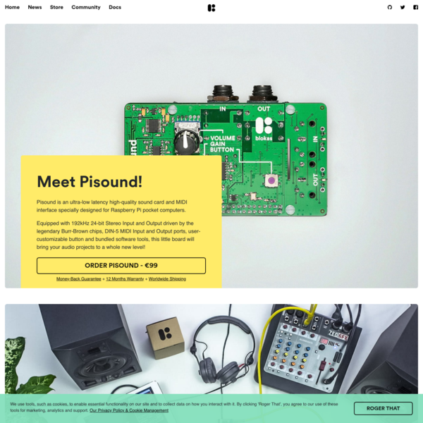 Pisound - Sound Card & MIDI Interface for Raspberry Pi