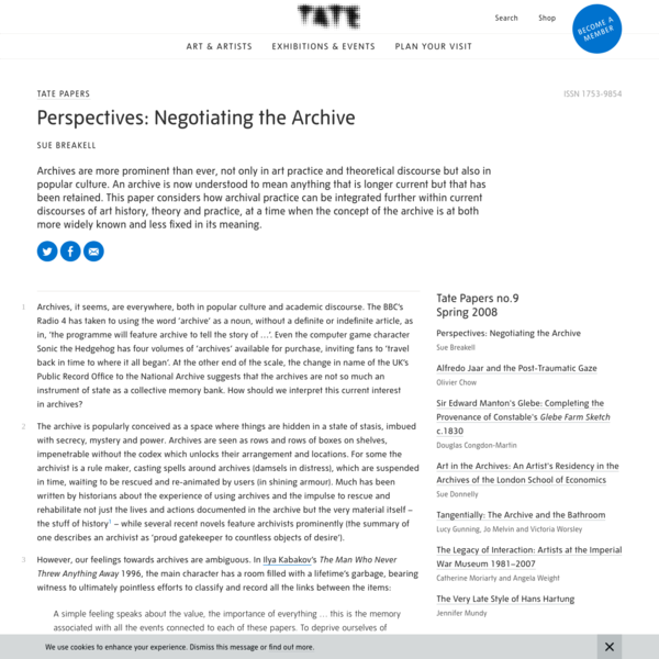 Perspectives: Negotiating the Archive - Tate Papers | Tate