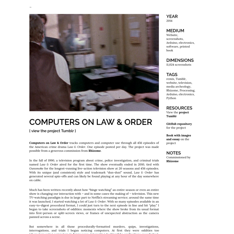 But somewhere in all those procedurally-formatted murders, quips, investigations, interrogations, and trials I began noticing computers. At first they were oddities too (characters using computers in funny ways, interesting-looking fake applications or websites), but as many obsessive projects start, the more screenshots I took, the more I noticed computers.
