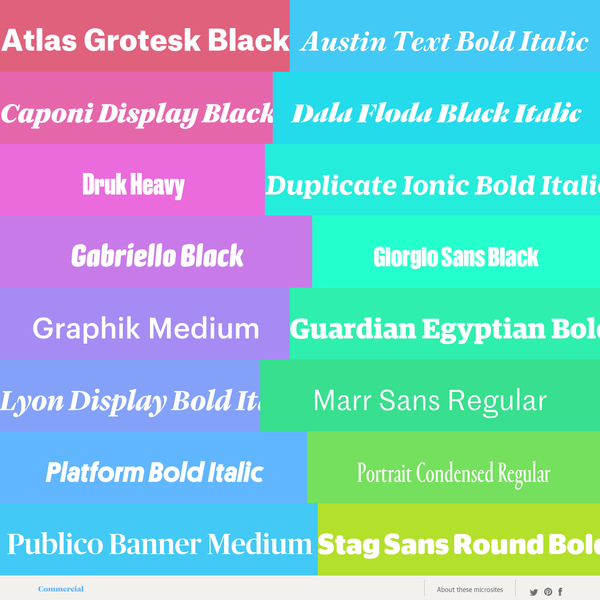 Since we started licensing our fonts for use on the web, we've been thinking more and more about the aesthetic possibilities for typography on the web that come with a dynamic and interactive canvas.
