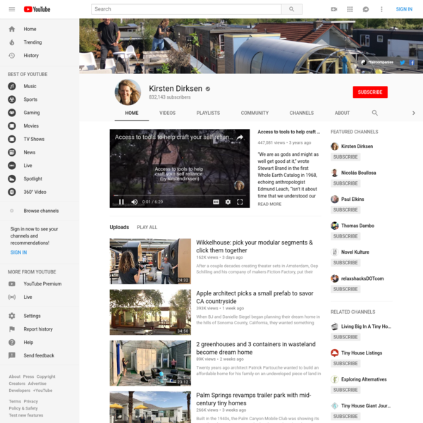 Videos about simple living, self-sufficiency, small (and tiny) homes, backyard gardens (and livestock), alternative transport, DIY, craftsmanship and philoso...