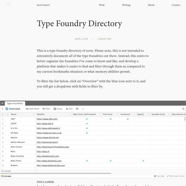 This is a type foundry directory of sorts. Please note, this is not intended to extensively document all of the type foundries out there. Instead, this exists to better organize the foundries I've come to know and like, and develop a platform that makes it easier to find and filter through them as compared to...