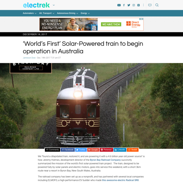 "We ""found a dilapidated train, restored it, and are powering it with a 4.6 billion year old power source"" is how Jeremy Holmes, development director of the Byron Bay Railroad Company succinctly summarized the mission of the world's first solar-powered train project. The train, designed to be powered fully by solar panels and electric motors, [...]"