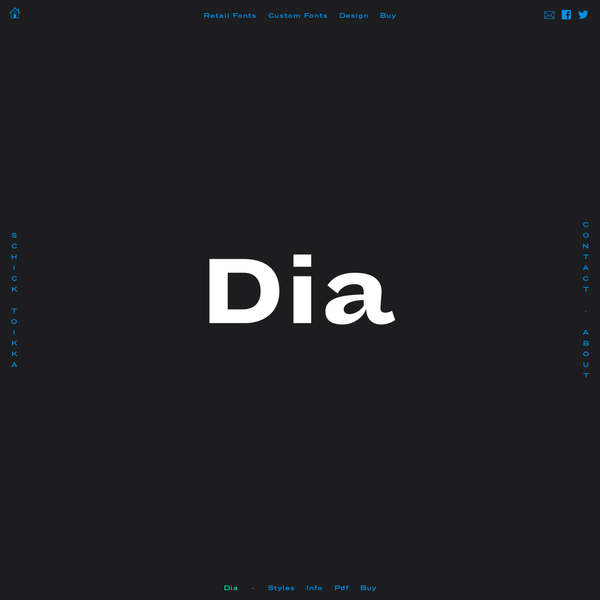 Dia is a type family that features the most distinctive weights of a superfamily, from light condensed to black extended. It is reduced to four carefully selected and functional weights. In order to achieve great performance, each style has been drawn individually. Dia's quirky and playful forms pay tribute to the naivety and clunkiness of the early grotesques.