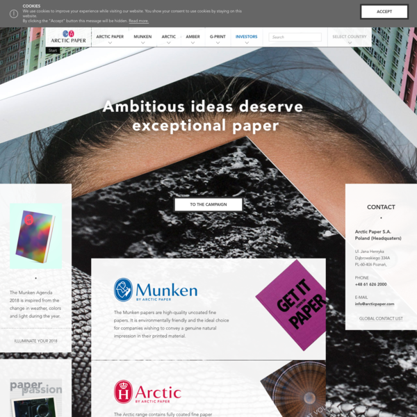 ARCTIC PAPER S.A. is one of the leading manufacturers of high-quality graphical fine paper in Europe.