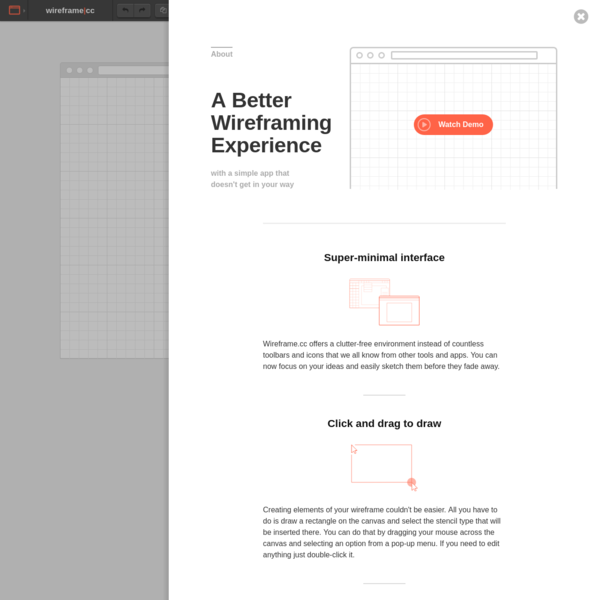 A simple wireframing tool that doesn't get in your way. Create and share simple wireframes of websites and mobile apps.