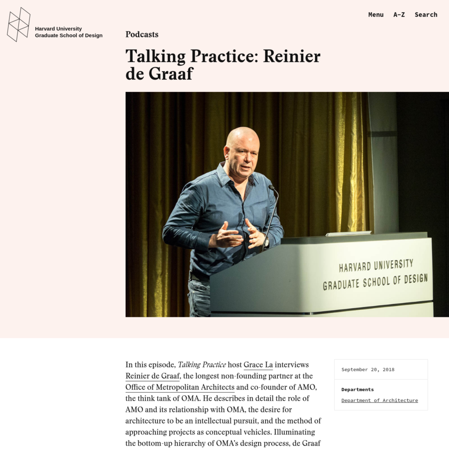 In this episode, Talking Practice host Grace La interviews Reinier de Graaf, the longest non-founding partner at the Office of Metropolitan Architects and co-founder of AMO, the think tank of OMA. He describes in detail the role of AMO and its relationship with OMA, the desire for architecture to be an intellectual pursuit, and the method of approaching projects as conceptual vehicles.