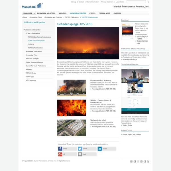 TOPICS Schadenspiegel | Munich Reinsurance America, Inc.