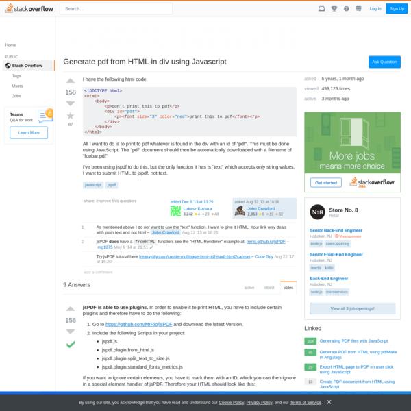 download webpage as pdf using javascript