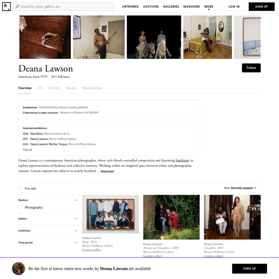 Find the latest shows, biography, and artworks for sale by Deana Lawson. Deana Lawson is a contemporary American photographer, whose style blends controlled ...