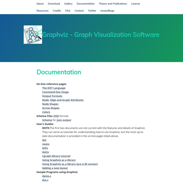 NOTE: The first two documents are not current with the features and details of Graphviz. They can serve as tutorials for understanding how to use Graphviz, but the most up-to-date documentation is provided in the on-line pages listed above.