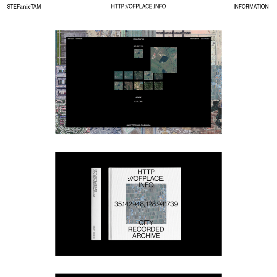 """08.2018; 6""""x6"""", WEBSITE HTTP://OFPLACE.INFO/ is the result of an extensive surveillance collection of Google Maps satellite images. With choices dictated by randomization, pre-established rules, curiosity, and intuition, ://OFPLACE. archives 600 images of 20 different cities. ://OFPLACE."""