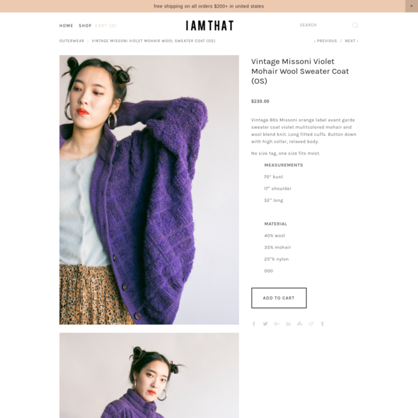 Vintage Missoni Violet Mohair Wool Sweater Coat (OS)