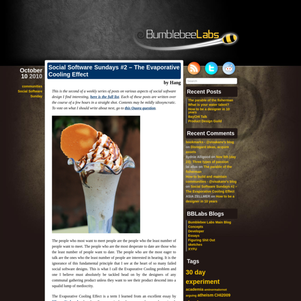 Social Software Sundays #2 - The Evaporative Cooling Effect