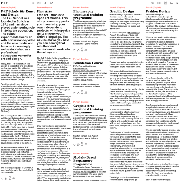 F+F Schule für Kunst und Design, Flurstrasse 89, 8047 Zürich, Tel.+41 44 444 1 888