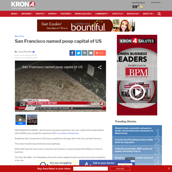 San Francisco has been named the 'doo-doo' capital of the United States with 20,899 poop complaints reported in 2017, according to RealtyHop.