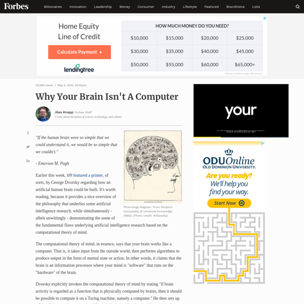 Why Your Brain Isn't A Computer