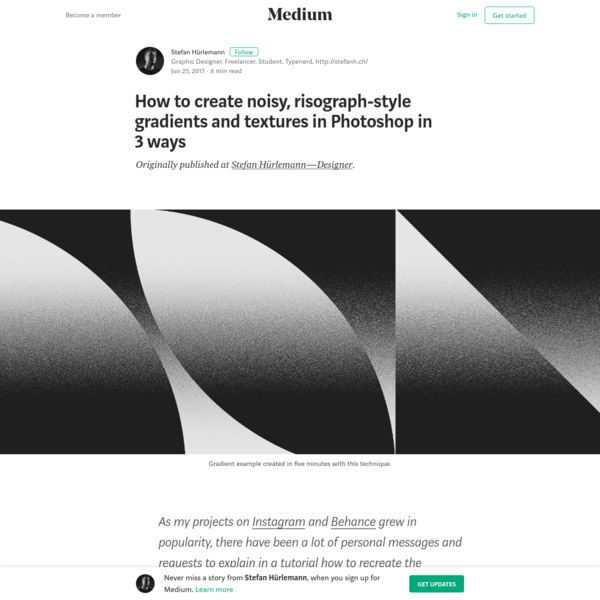 Originally published at Stefan Hürlemann-Designer . As my projects on Instagram and Behance grew in popularity, there have been a lot of personal messages and requests to explain in a tutorial how to recreate the gradients used in them.