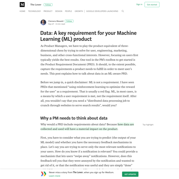 Data: A key requirement for your Machine Learning (ML) product