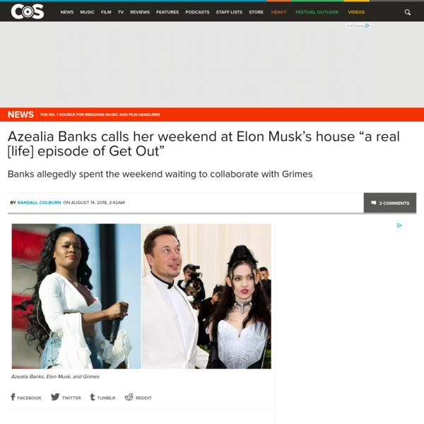 Late Monday night, controversial rapper Azealia Banks took to Instagram with a tale of visiting pop star Grimes at Elon Musk's house, during which she was ghosted on by the singer because Elon Musk needed to be consoled after tweeting on acid.