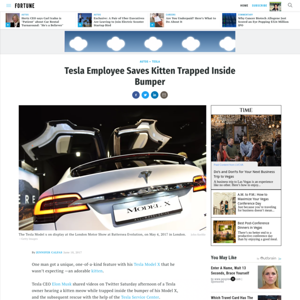 Tesla CEO Elon Musk shared two videos of a Tesla Service Center employee saving a cat that was stuck in the bumper of a customer's Model X