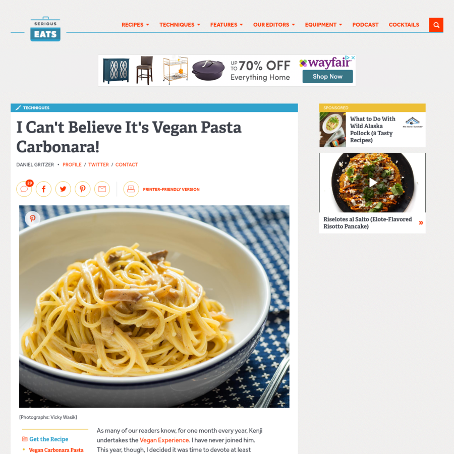 Carbonara may be one of the most difficult recipes to vegan-ify, since every major ingredient in the sauce is off-limits. But by eating lots of the real deal and getting mighty crafty with an array of unlikely ingredients, I managed to create a vegan carbonara that captures the essence of the original like no other: It's silky and rich, unctuous, and studded with meaty bits, with the sharp, lactic tang of Pecorino Romano (but, of course, no actual Pecorino Romano).