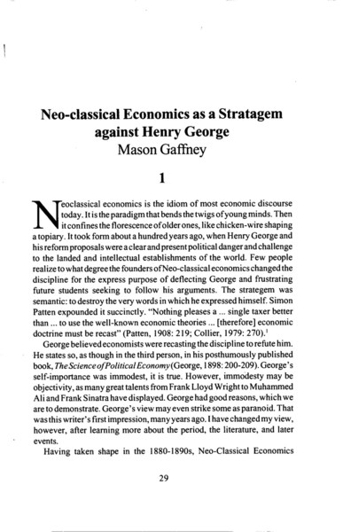 Neo-classical Economics as a Stratagem Against Henry George