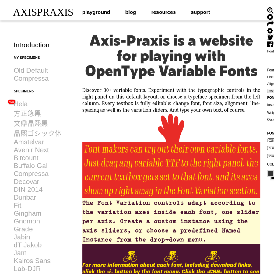Axis-Praxis is a website for playing with OpenType variable fonts. Use Chrome on any platform or Safari on macOS 10.13+