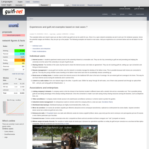 Experiences and guifi.net examples based on real cases ? | guifi.net