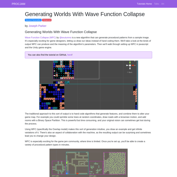Generating Worlds With Wave Function Collapse - PROCJAM Tutorials