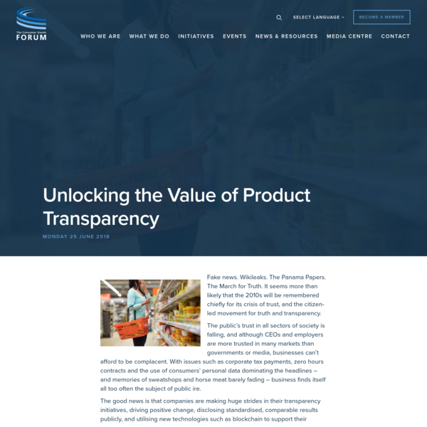 Unlocking the Value of Product Transparency