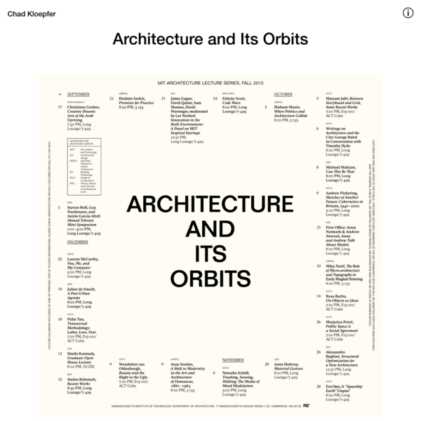 Chad Kloepfer - Architecture and Its Orbits